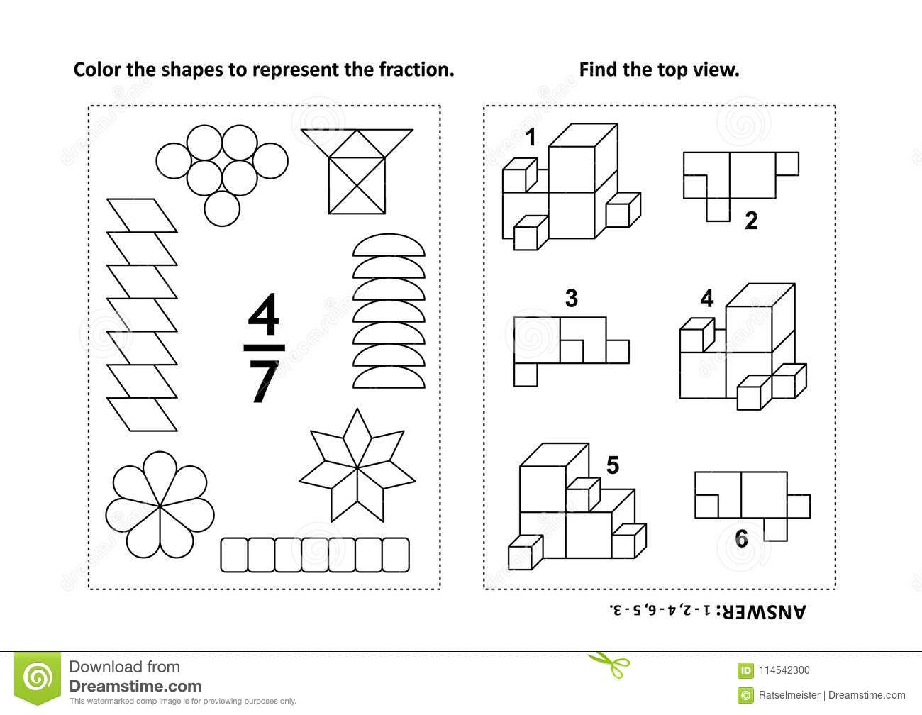 Educational math activity page with two puzzles and coloring download educational math activity page with two puzzles and coloring fractions spatial skills stock ccuart Gallery