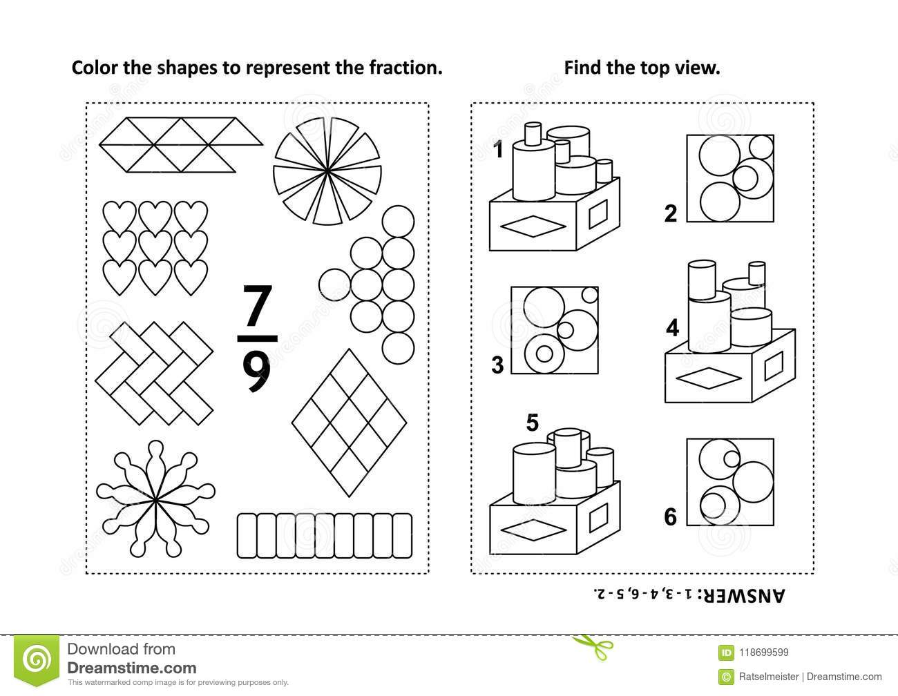 Educational Math Activity Page With Two Puzzles And Coloring ...