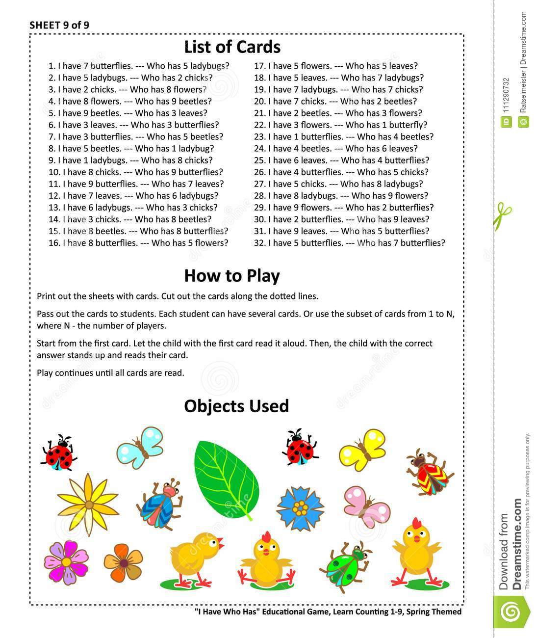 educational group game i have who has learn counting sheet 9 of
