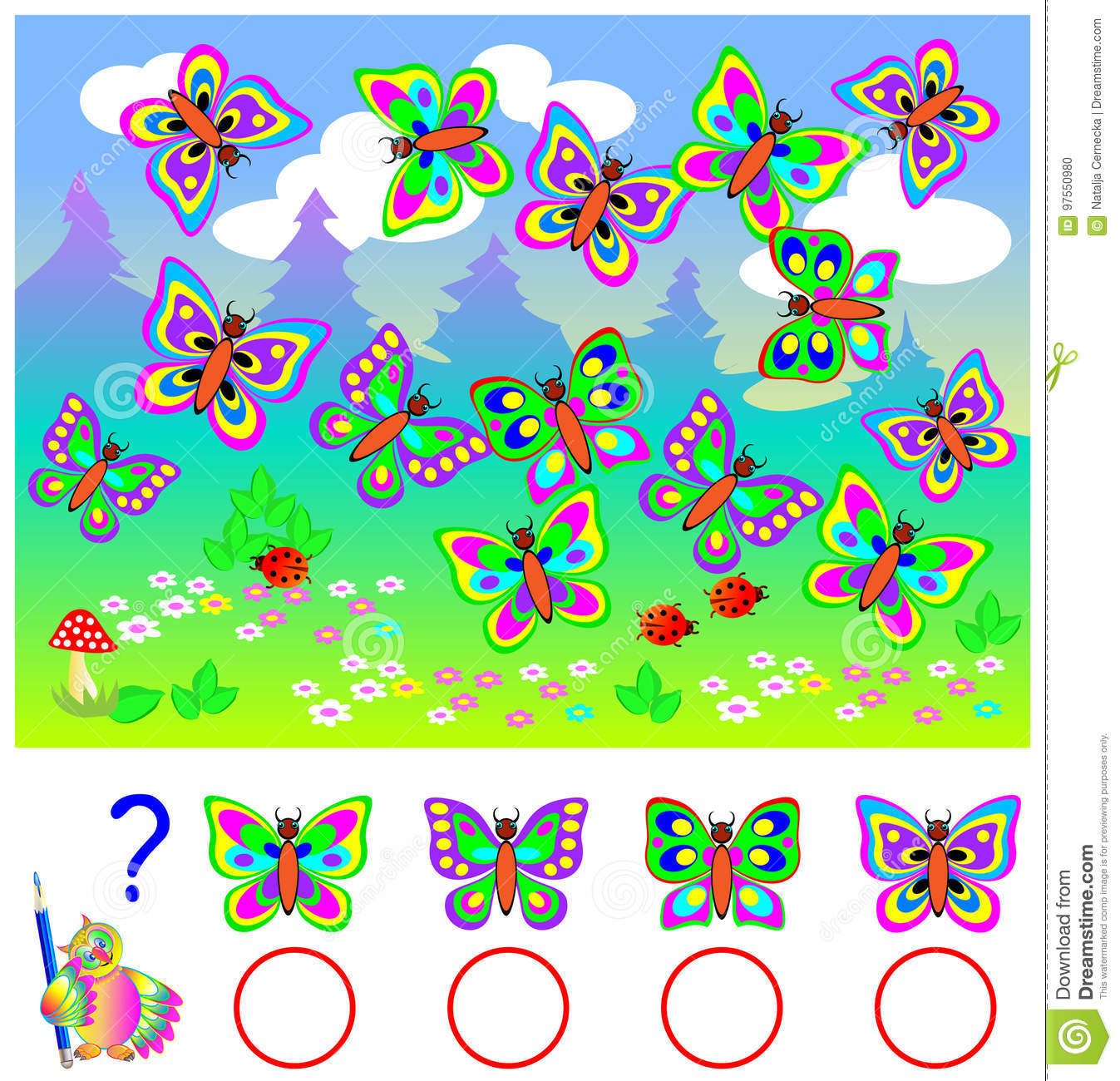 Educational Page For Children. Count Identical Butterflies And Write ...