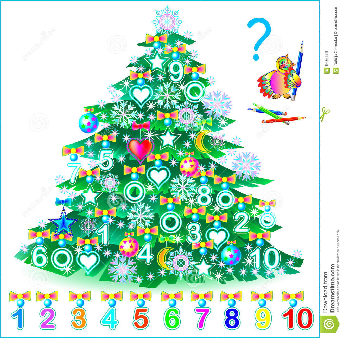 Educational Page For Children. Find The Numbers Hidden In The ...