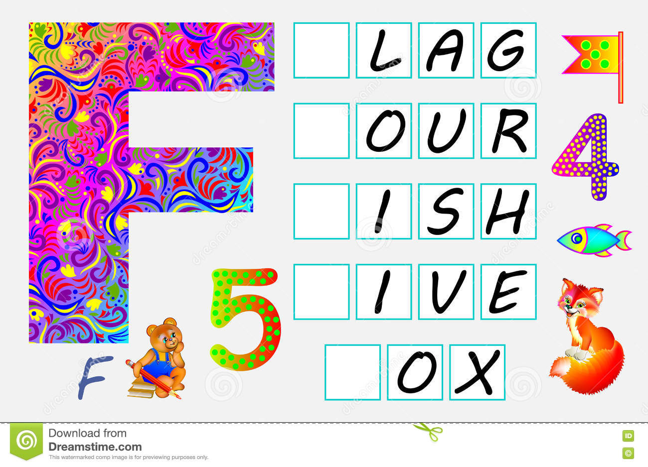 educational page for children with letter f for study