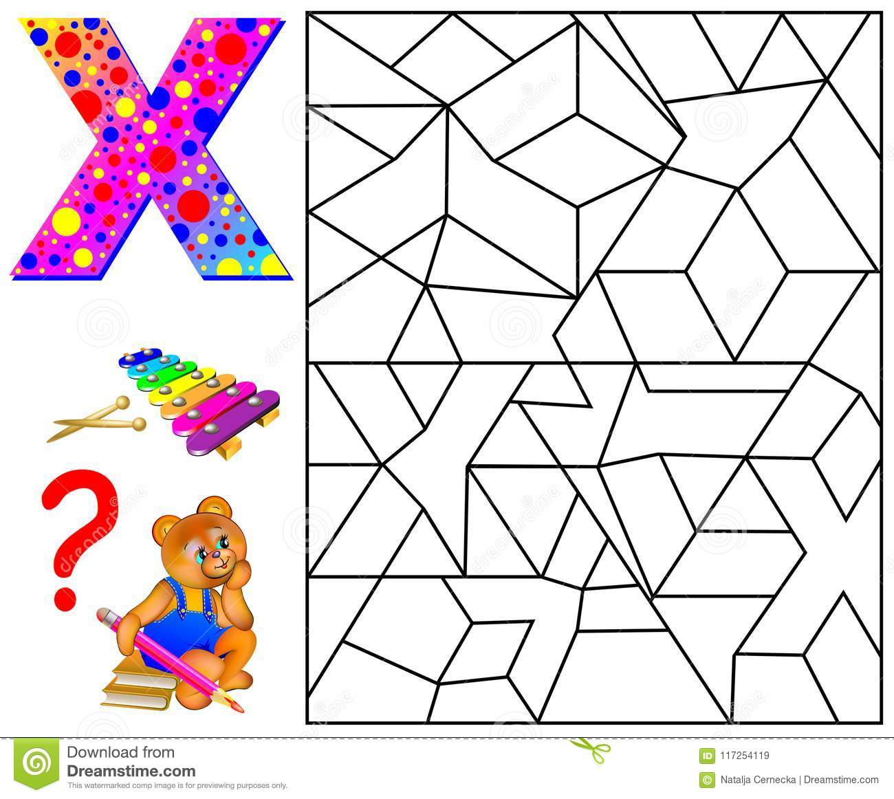 Educational Page With Letter X For Study English Letters