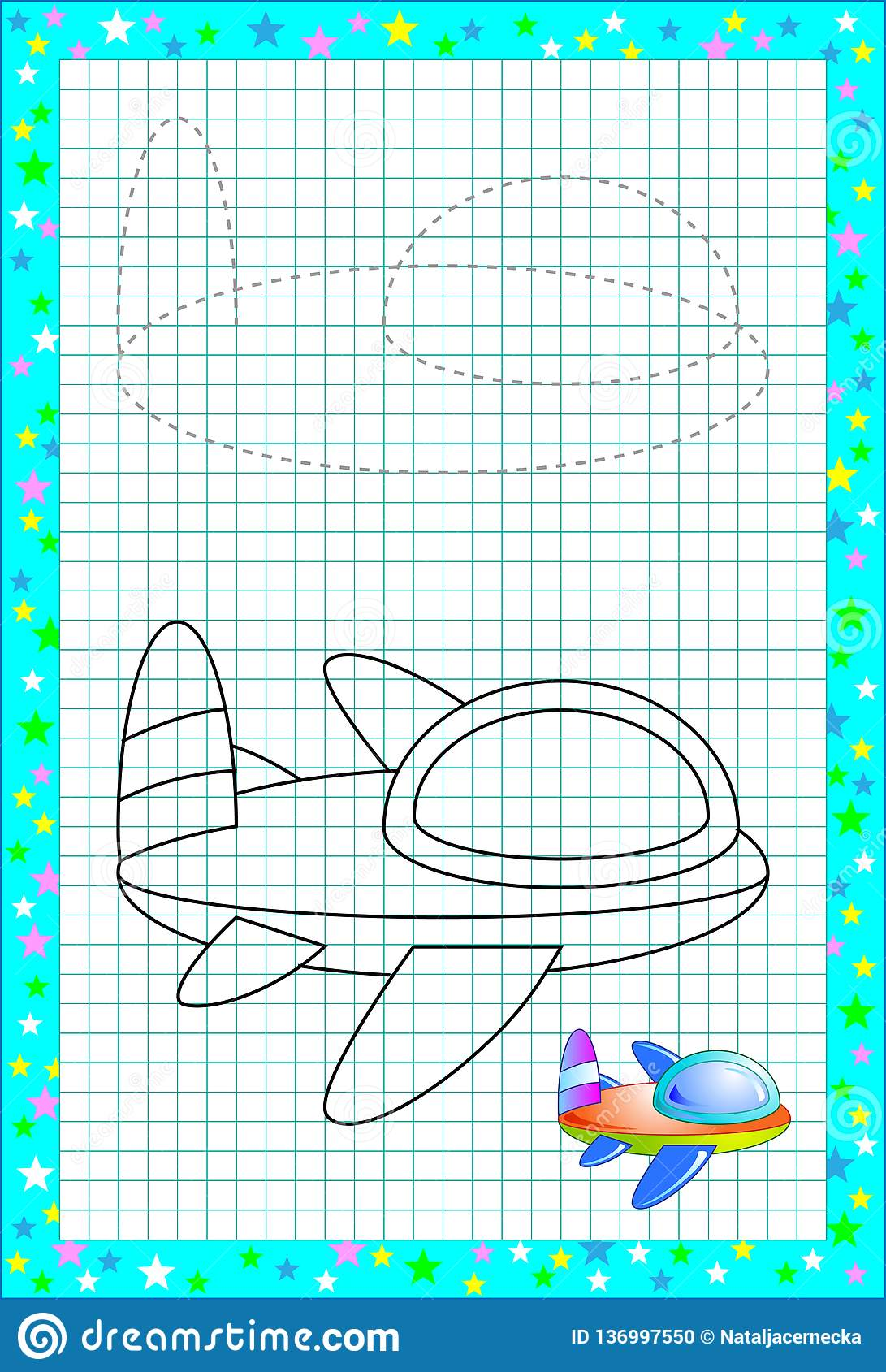 Educational Page For Little Children On Square Paper Need To Draw And Paint Cute Airplane By Copy Developing Baby Skills Stock Vector Illustration Of Child Line 136997550