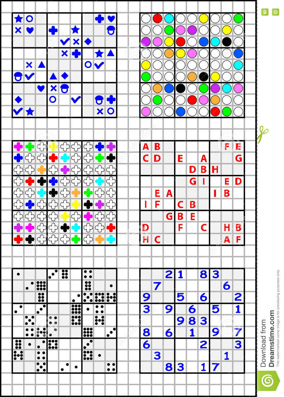 educational page on a square paper for children with set of sudoku