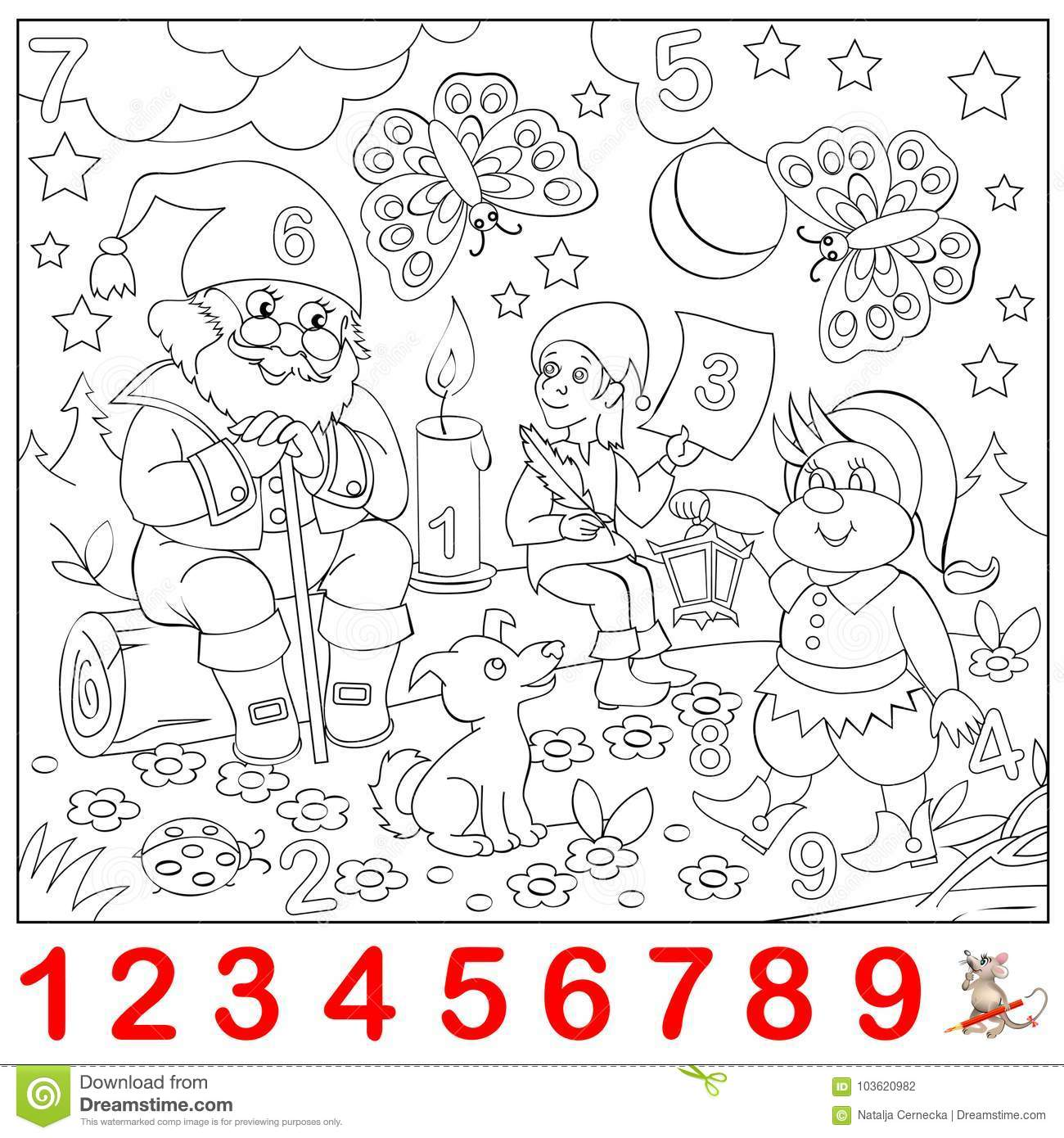 Download Educational Page For Young Children Find The Numbers Hidden In Picture And Paint