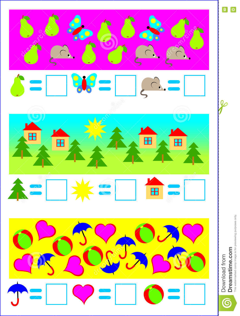Educational Page For Young Children. Need To Count The Objects And ...