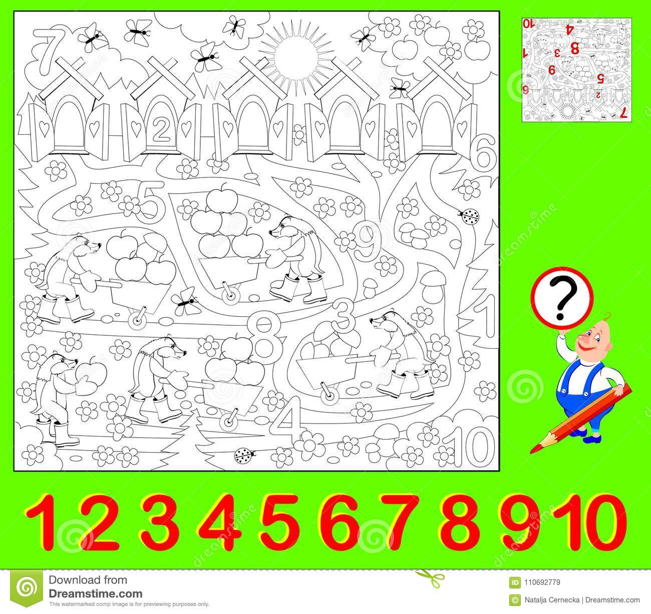 educational page young children need to find hidden numbers paint them developing skills counting coloring vector