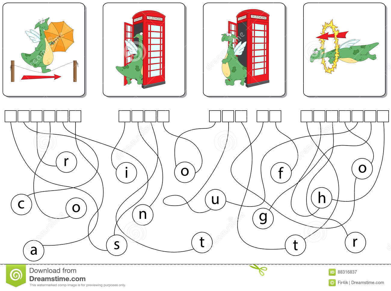 educational puzzle game with dragon find the hidden words stock