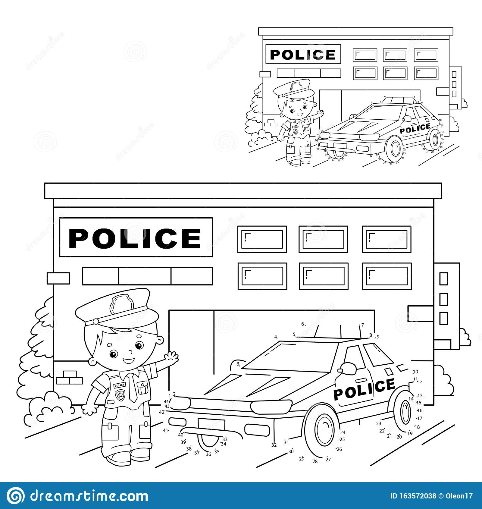 Educational Puzzle Game For Kids Numbers Game Police Car Coloring Page Outline Of Cartoon Policeman With Car Coloring Book For Stock Vector Illustration Of Paint Activity 163572038