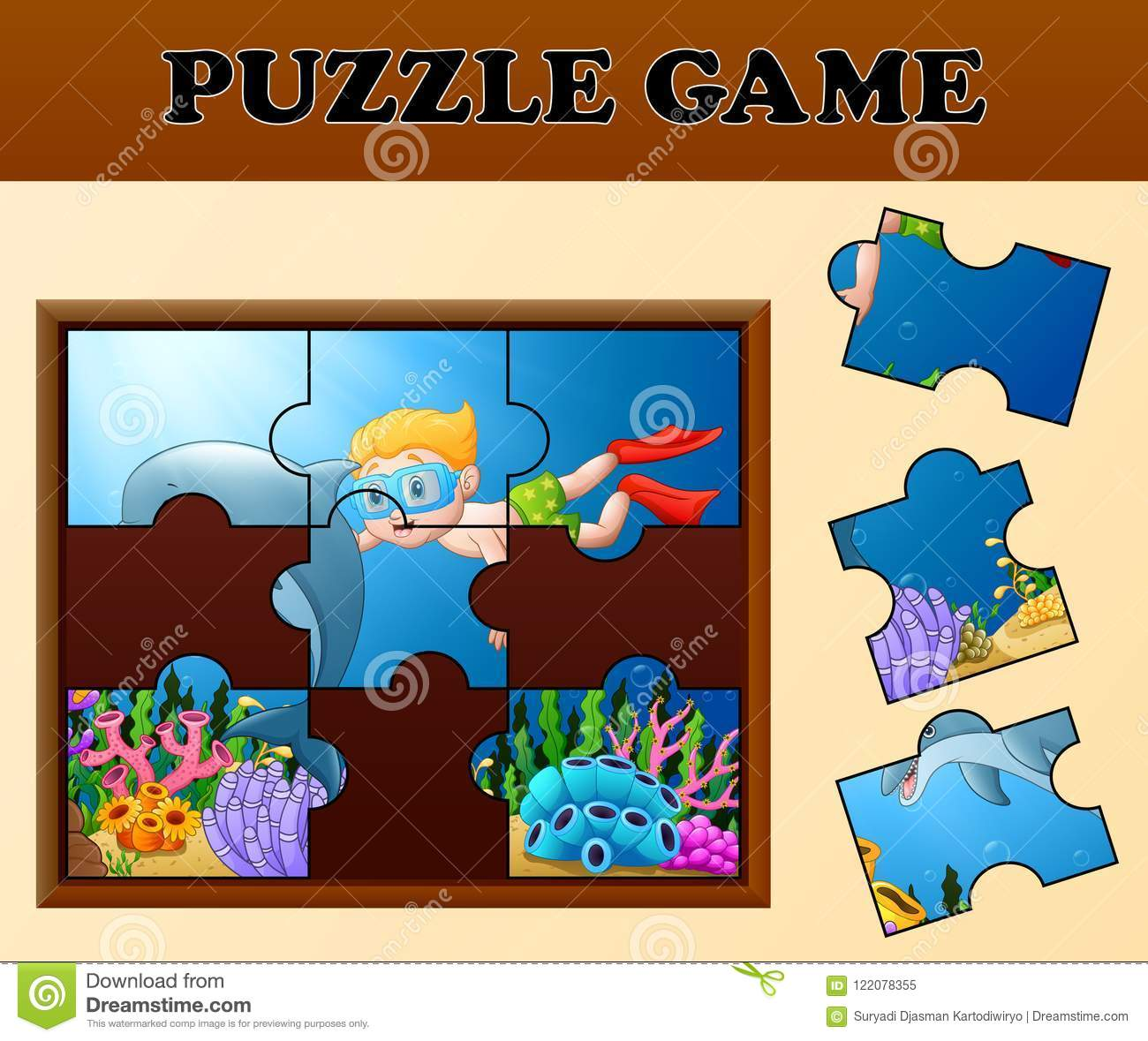 Educational puzzle game for preschool children with cartoon boy illustration of educational puzzle game for preschool children with cartoon boy diving and dolphin in the beautiful underwater world gumiabroncs Images