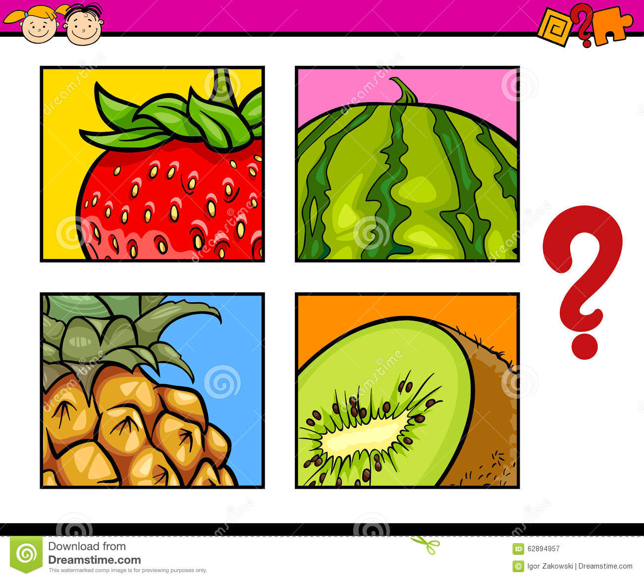 Educational Puzzle For Preschoolers Stock Vector - Illustration of ...