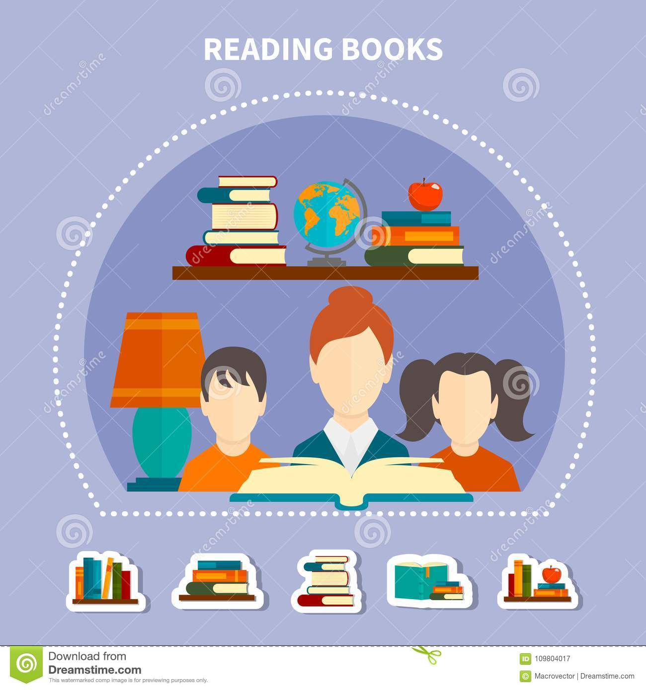 Educational Reading Composition Stock Vector - Illustration ...