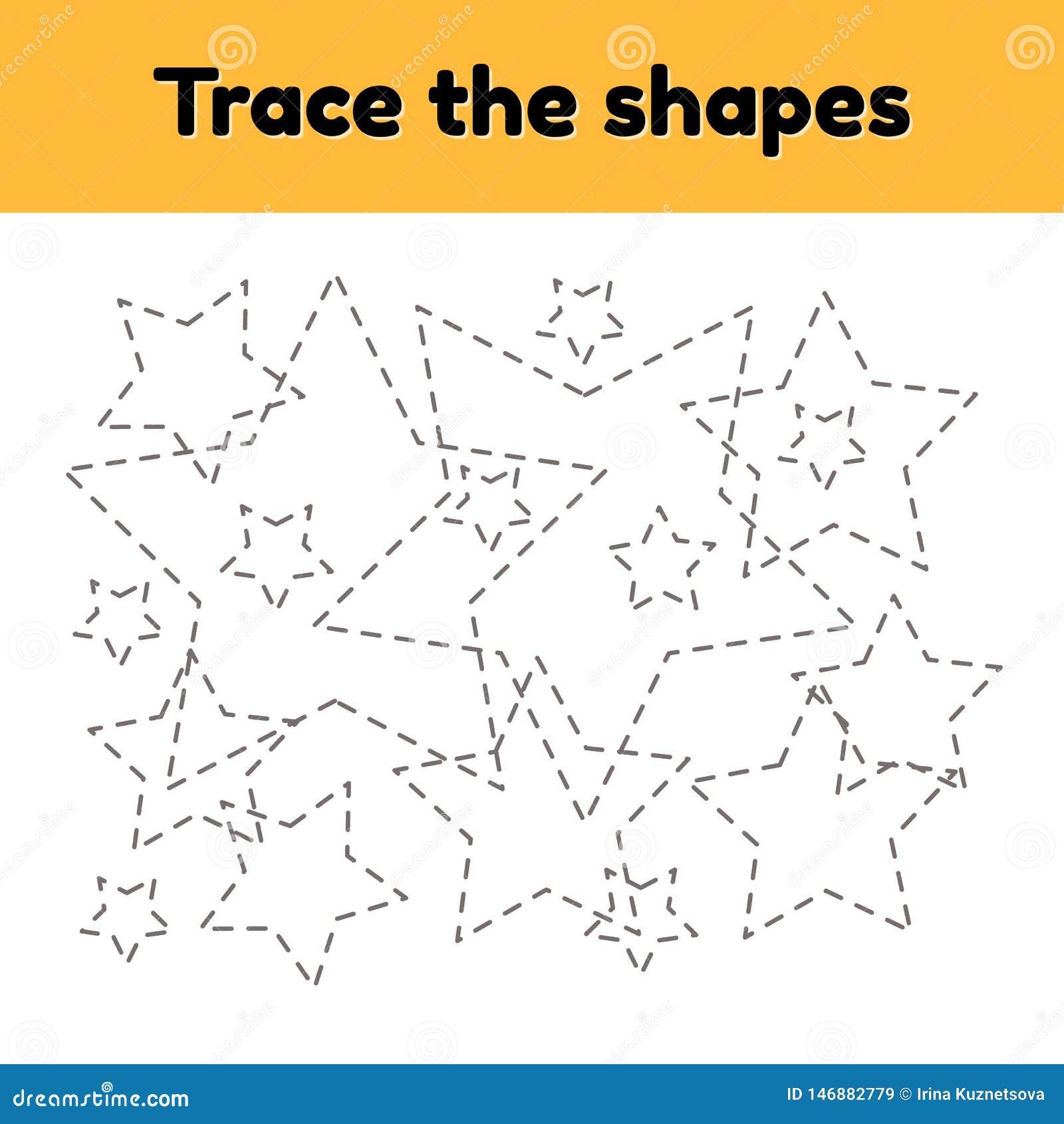 Educational Tracing Worksheet For Kids Kindergarten, Preschool And ...