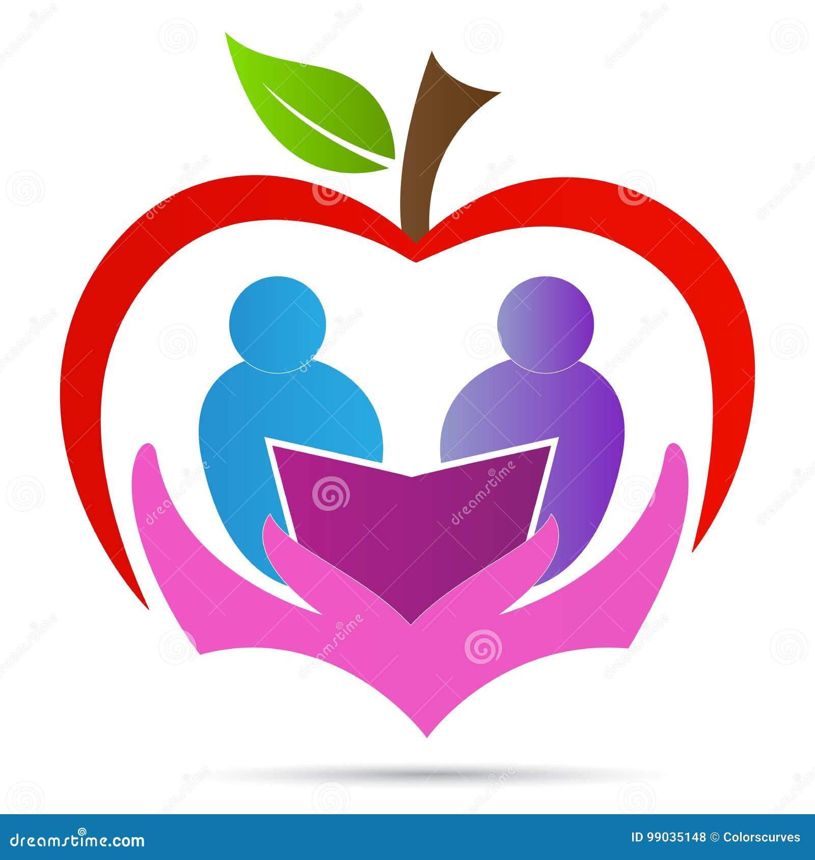 Edukaci nauki loga opieki książki jabłczanego studenckiego symbolu ikony wektorowy projekt