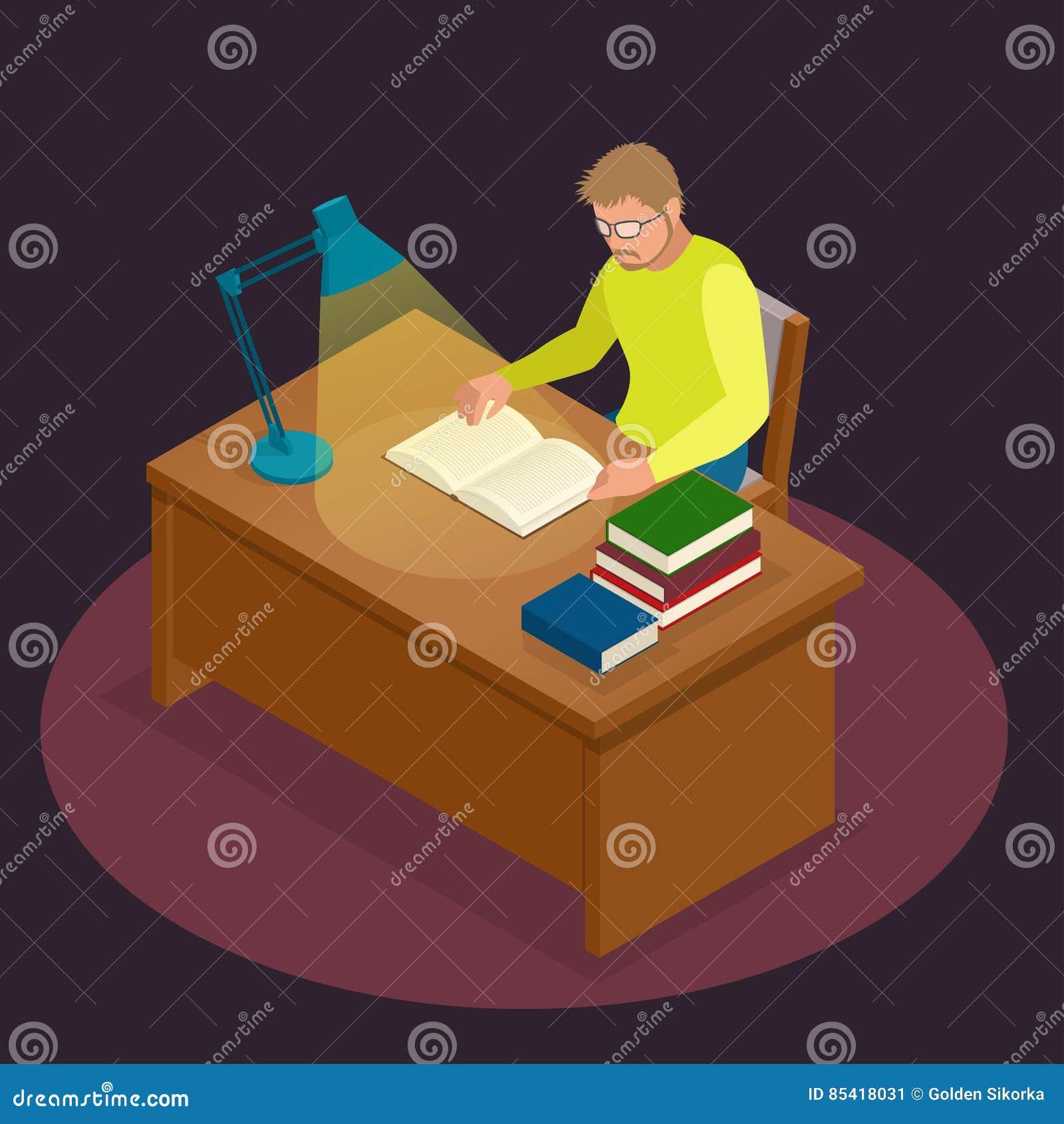 Edukacja, szkoła, nauka i literatura, Płaski isometric młodego człowieka obsiadanie w czytaniu i bibliotece książka, czasopismo