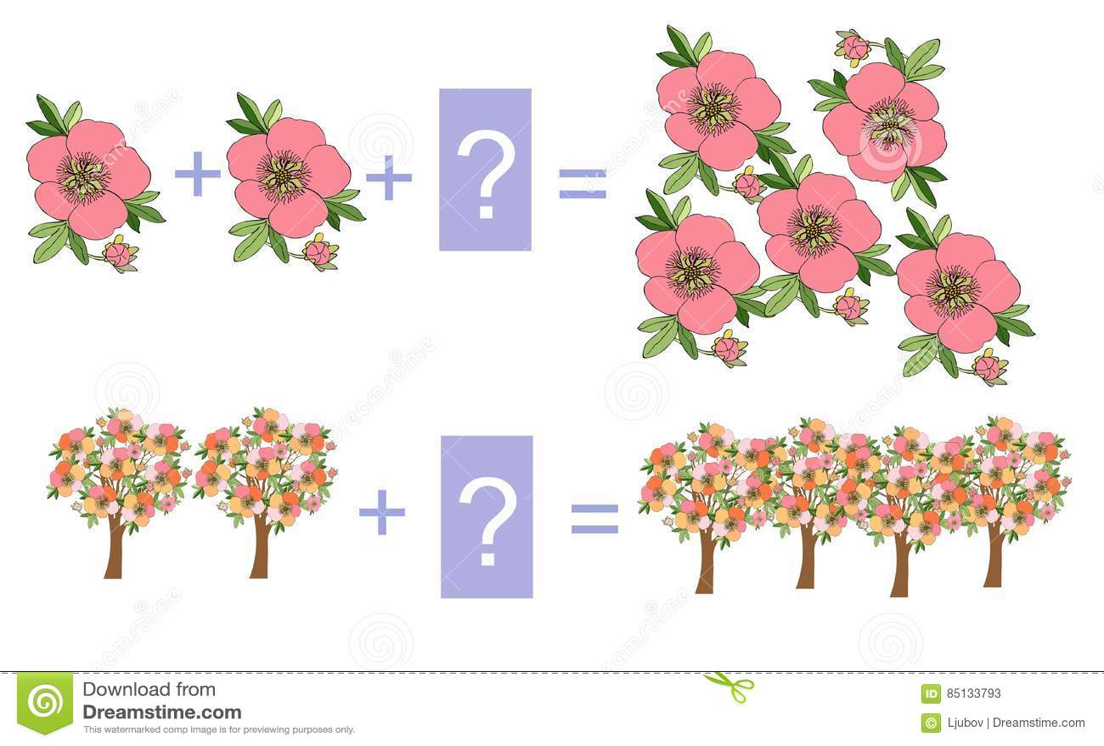 Edukacyjna gra dla dzieci Kreskówki ilustracja matematycznie dodatek