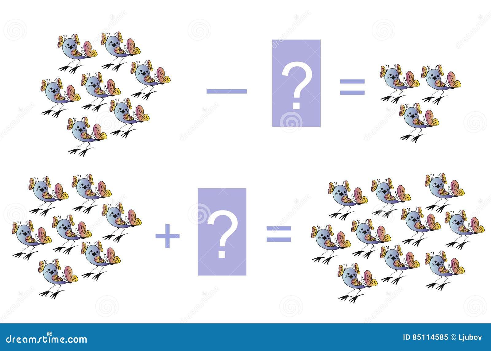 Edukacyjna gra dla dzieci Kreskówki ilustracja matematycznie odejmowanie i dodatek