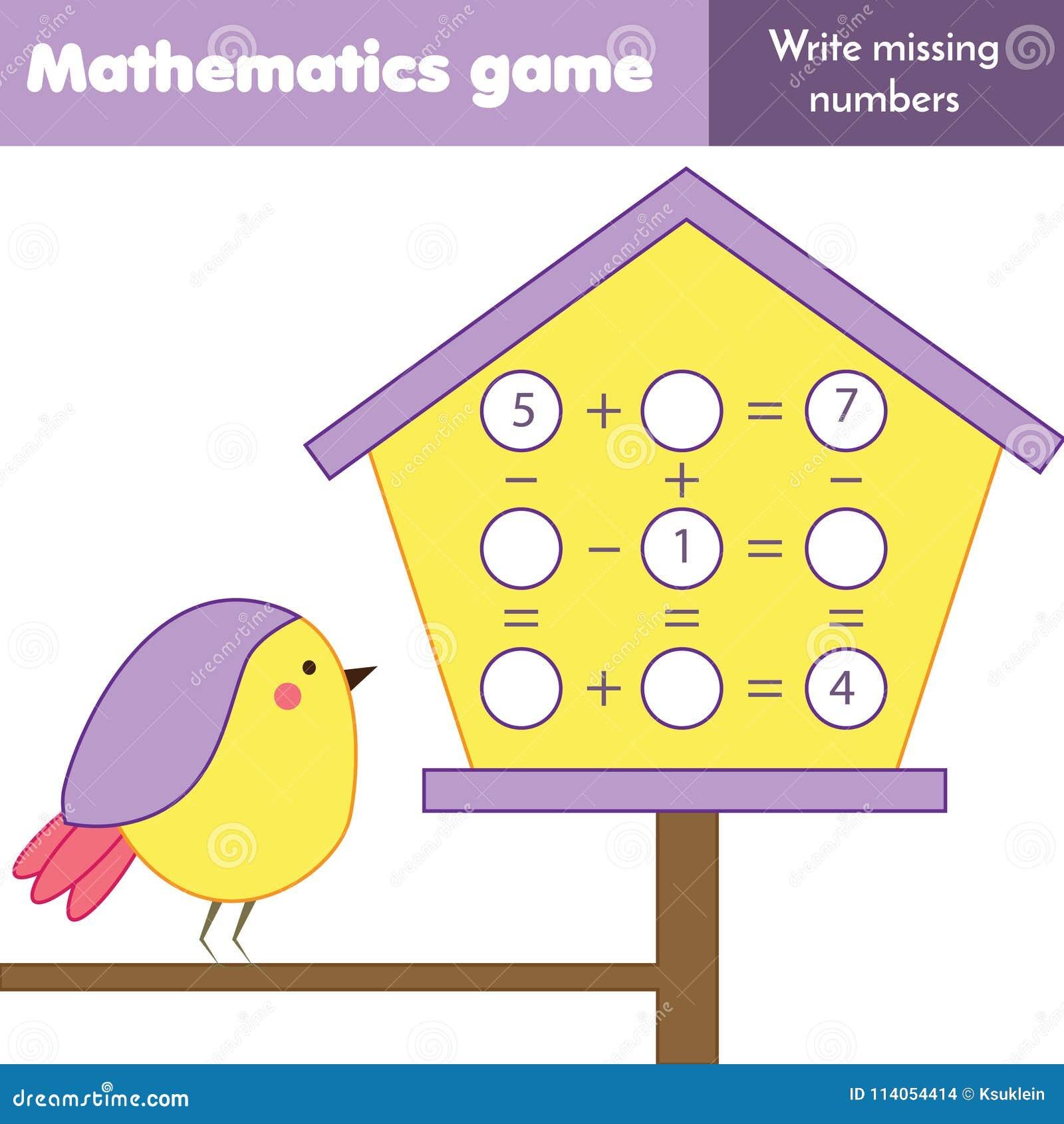 Edukacyjna gra dla dzieci Odliczający równania Nauka dodatek i odejmowanie Mathematics worksheet