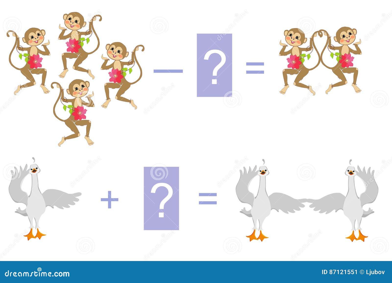 Edukacyjna gra dla dzieci Przykłady z ślicznymi małpami i małymi łabędź