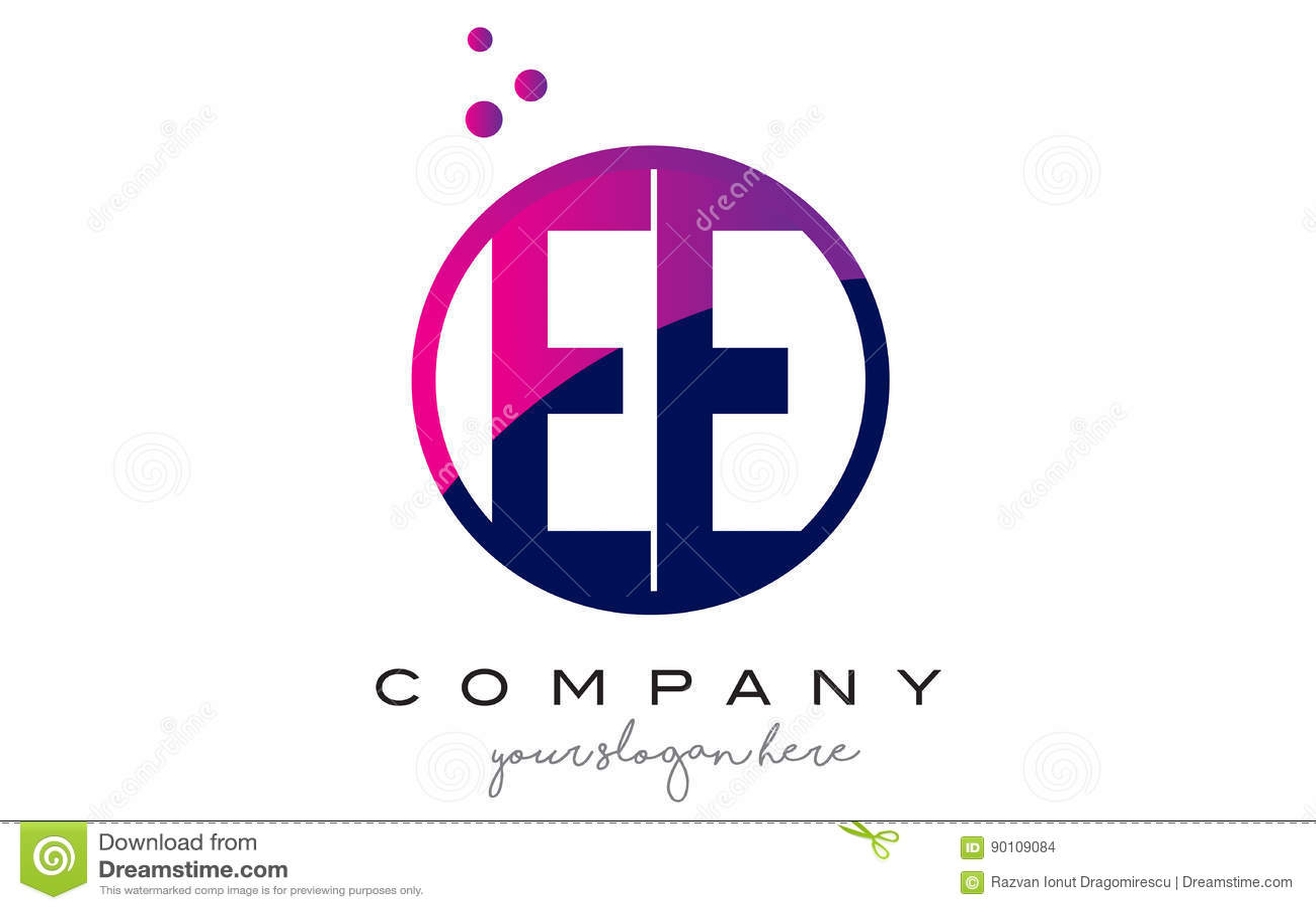 EE E E Circle Letter Logo Design With Purple Dots Bubbles Stock ...