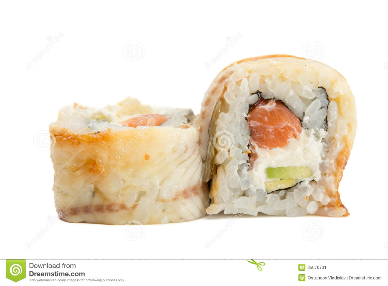 Eel sushi roll with salmon avocado and philadelphia cheesse isolated ...