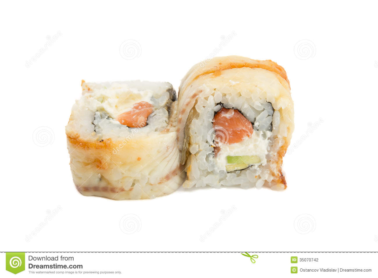 Eel Sushi Roll Isolated On White Background Stock Photography - Image ...