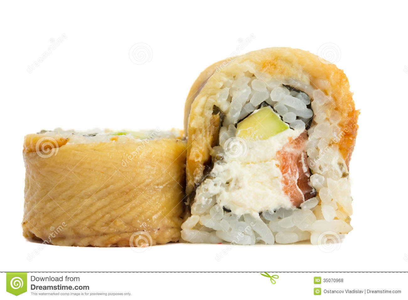 Eel Sushi Roll Isolated On White Background Royalty Free Stock Photos ...