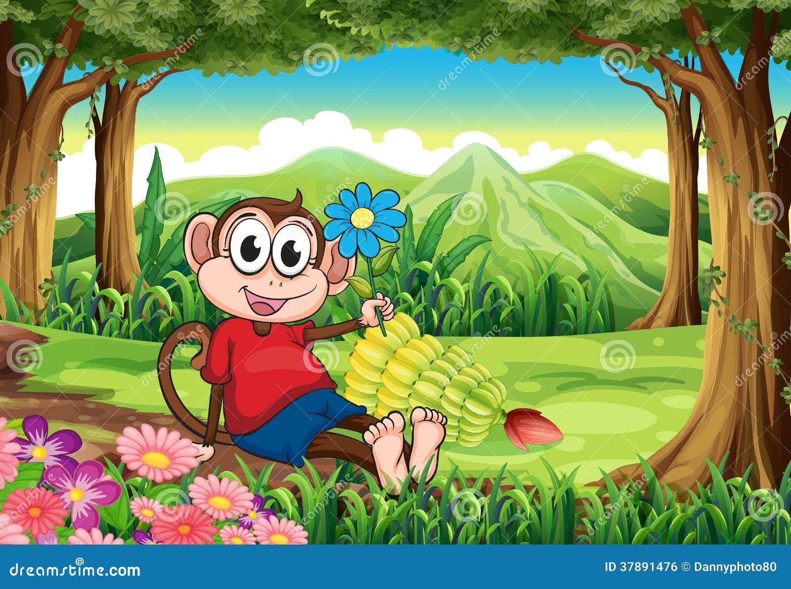 Een aap die een bloem houden terwijl het zitten in het midden van voor