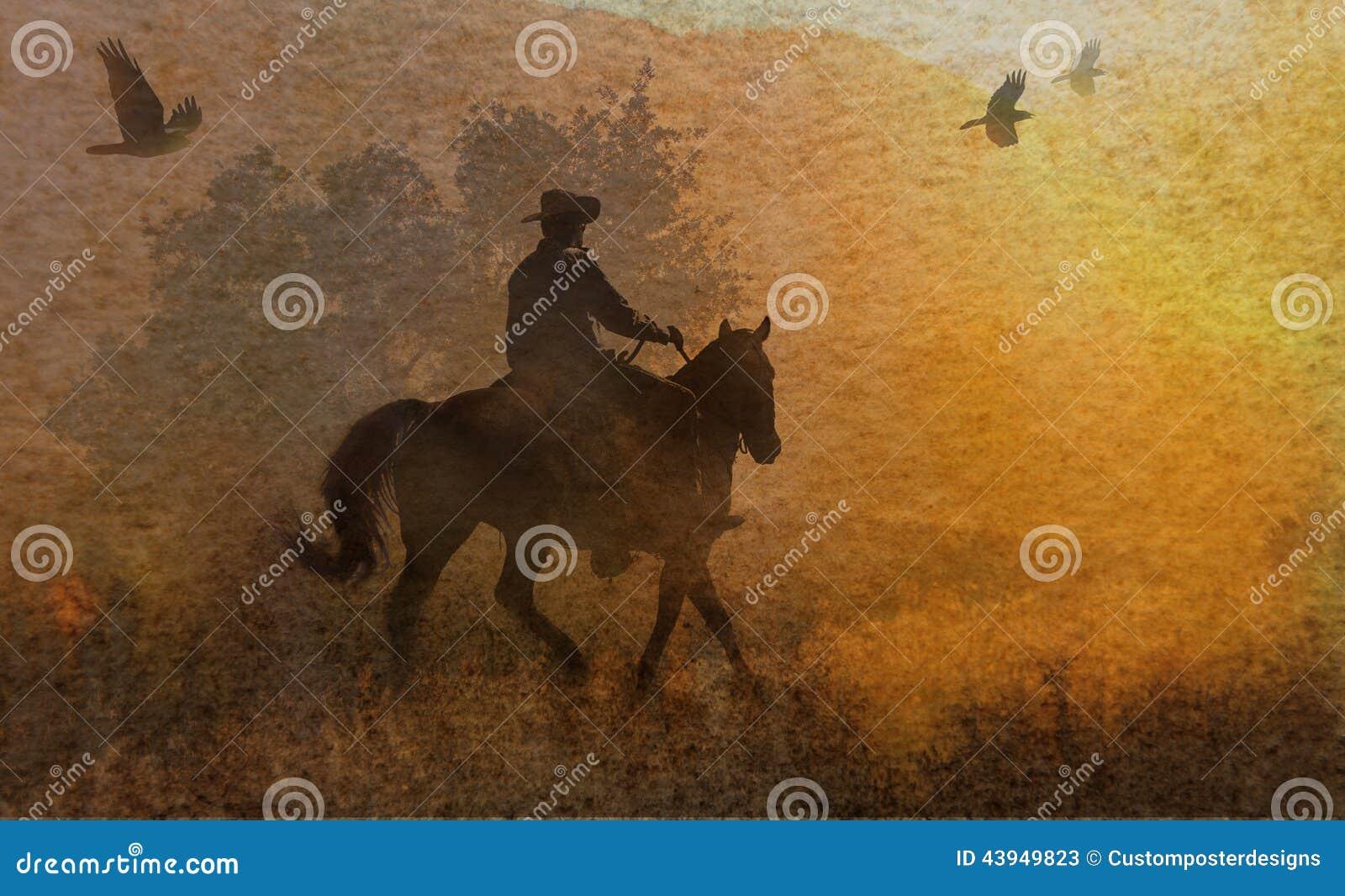 Een abstracte cowboy die in een weide met bomen, kraaien hierboven en een geweven waterverf gele achtergrond die vliegen berijden