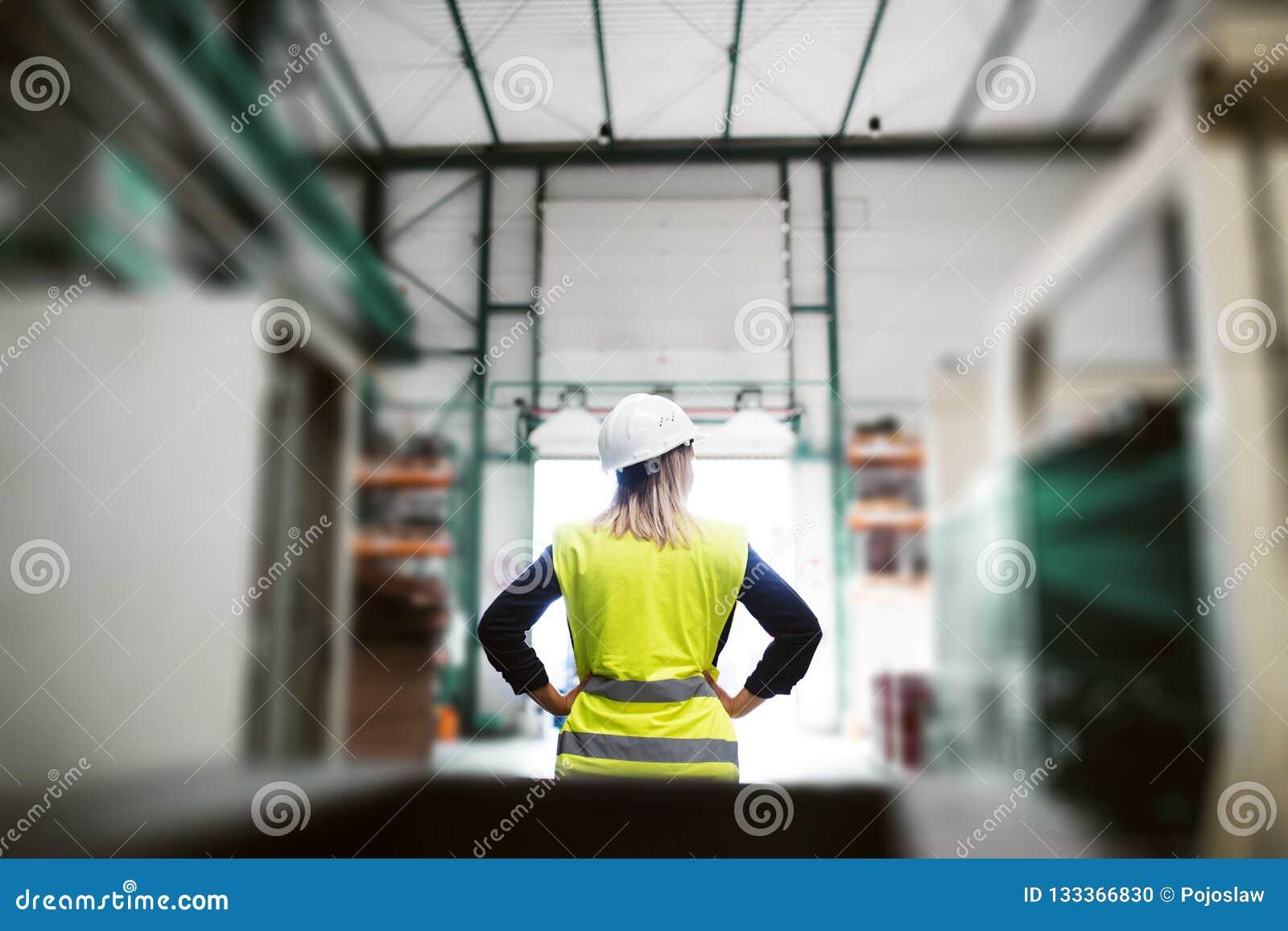 Een achtermening van een industriële vrouweningenieur die zich in een fabriek, wapens op heupen bevinden