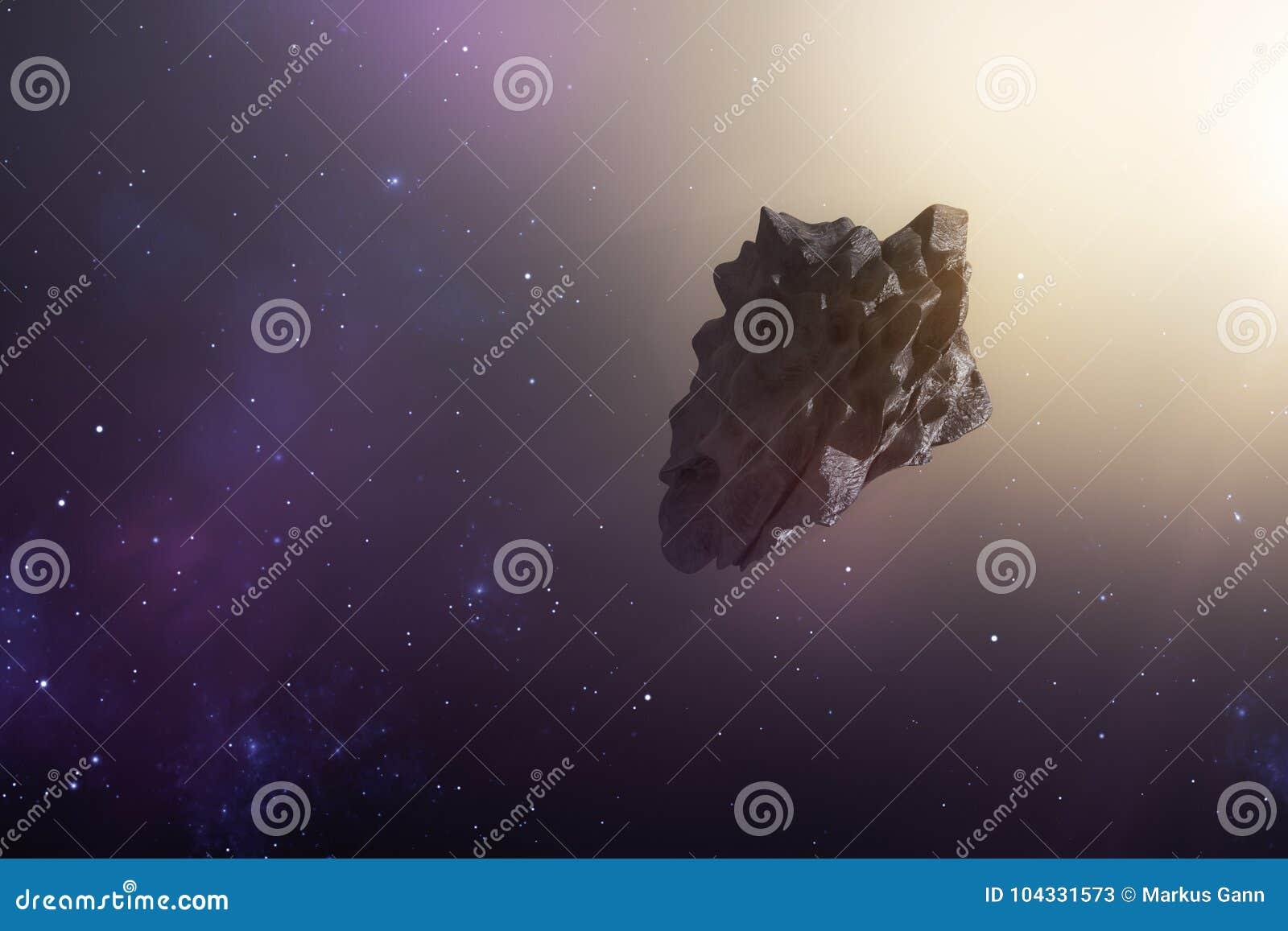 Een asteroïde in de diepe ruimte