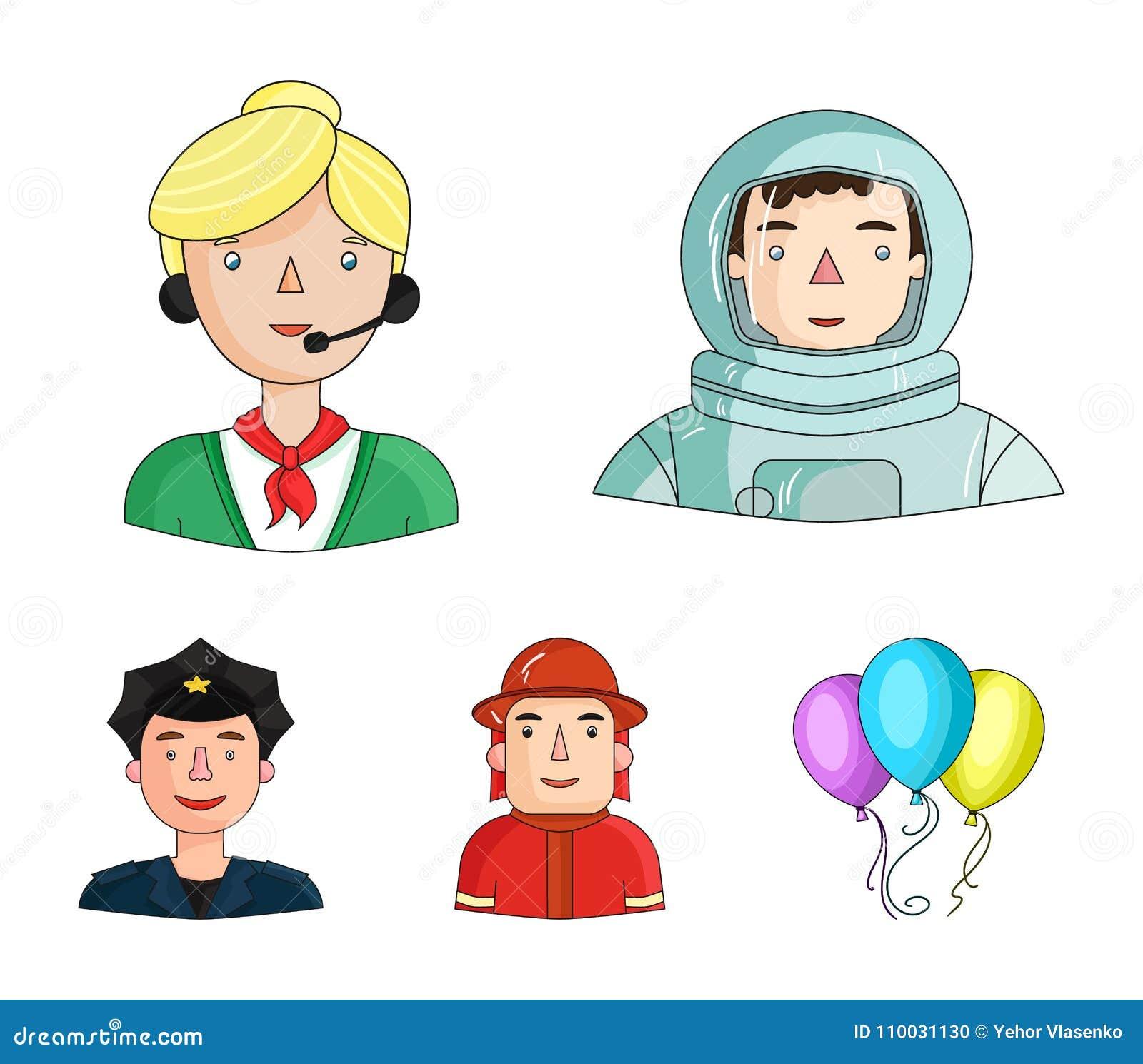Een astronaut in een spacesuit, een medewerker met een microfoon, een brandweerman in een helm, een politieagent met een kenteken
