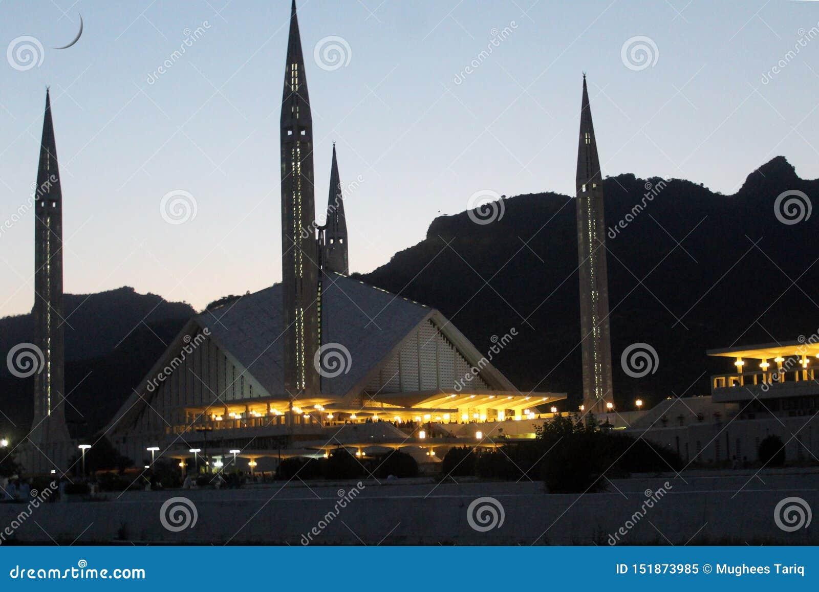 Een avondmening van Faisal Mosque, Islamabad