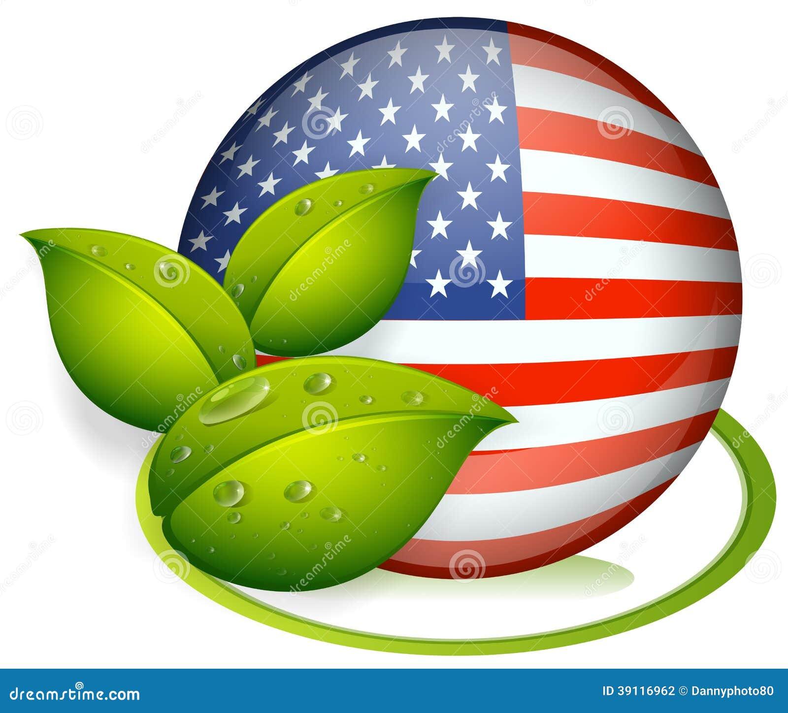 Een bal met de vlag van de Verenigde Staten en met bladeren