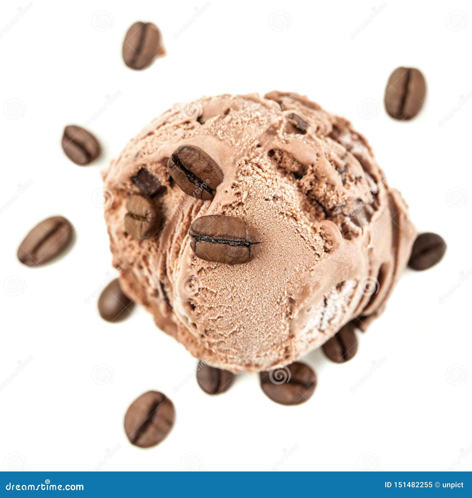 Een bal van het koffieijs van hierboven