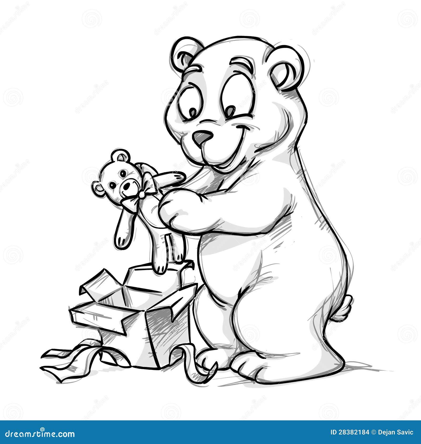 Een beer en een teddy-beer