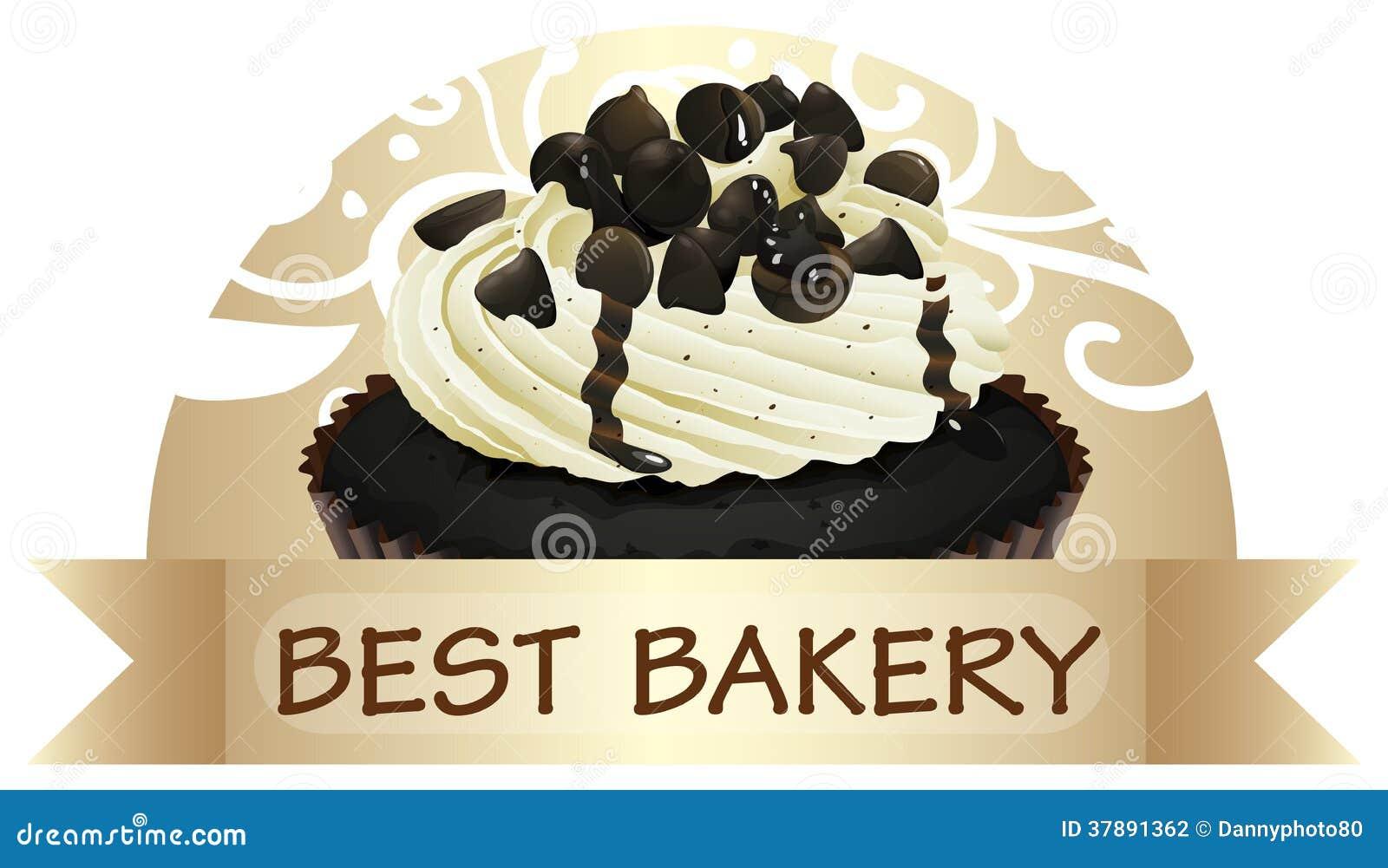 Een beste bakkerijetiket met een chocolade cupcake