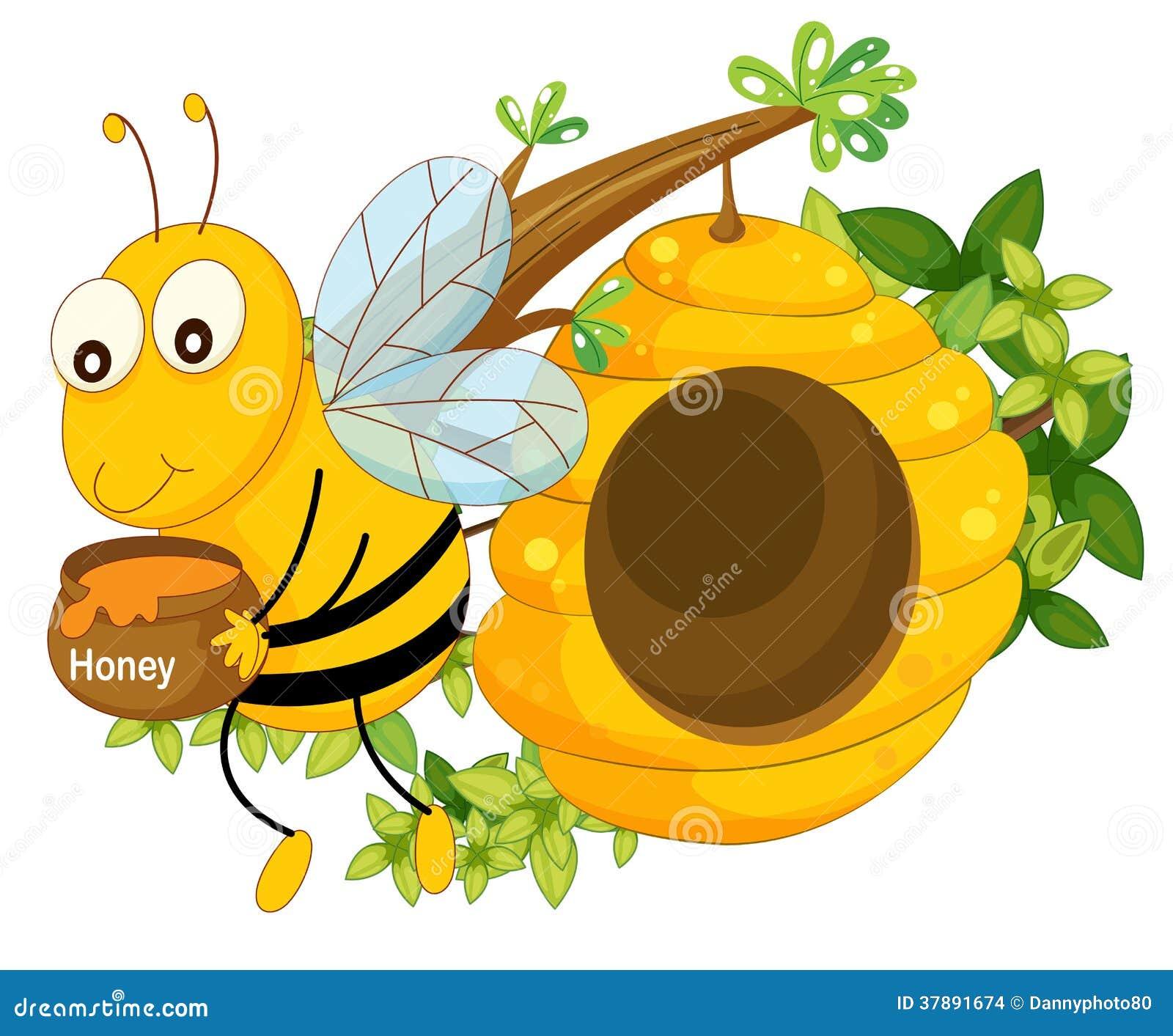 Een bij die een pot van honing houden dichtbij de bijenkorf