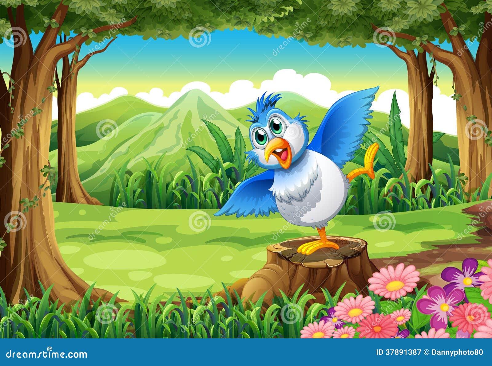 Een blauwe vogel boven de stomp bij het bos