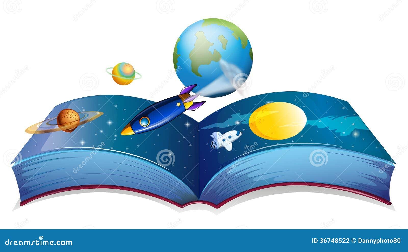 Een boek die de aarde en andere planeten tonen