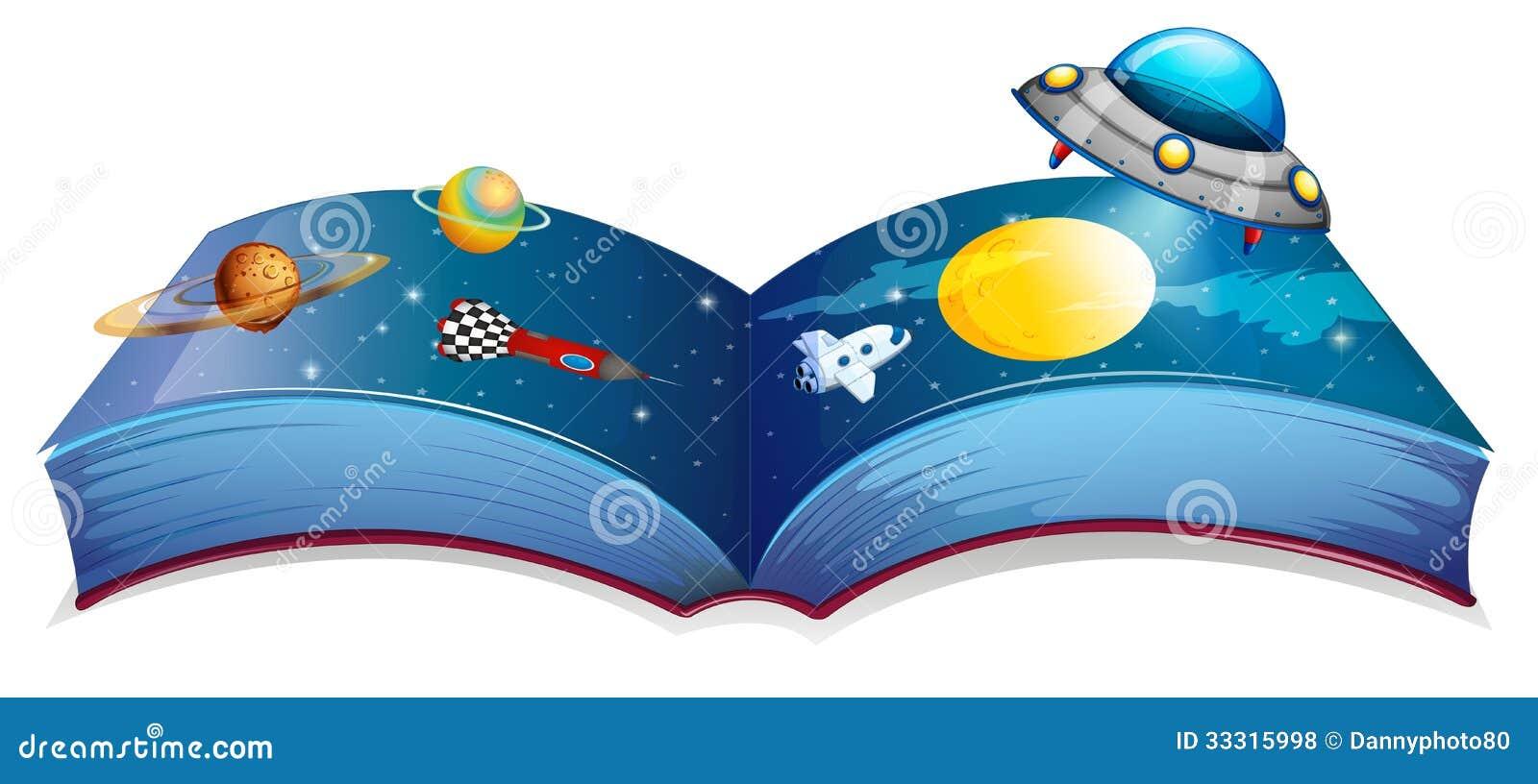Een boek met een beeld van een ruimteschip en planeten