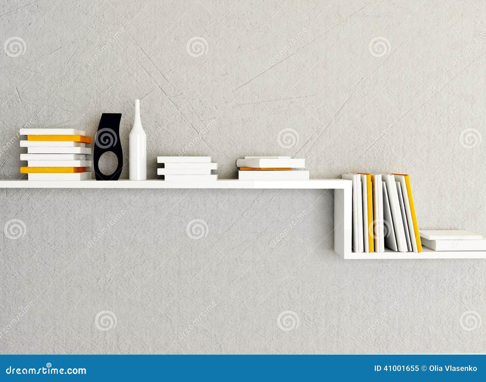 Een boekenrek op de muur stock illustratie afbeelding 41001655 - Kleden muur op ...