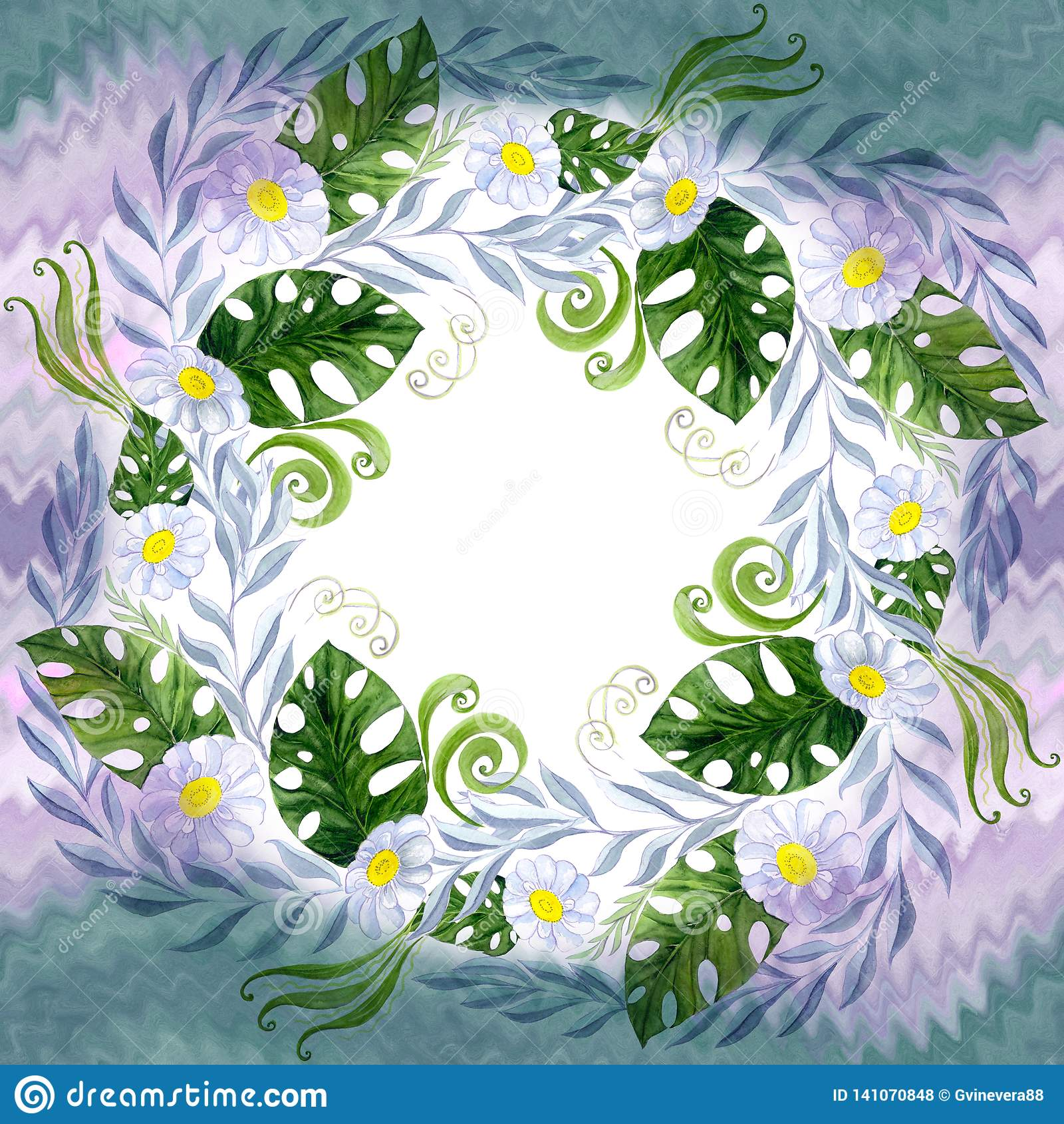 Een boeket van madeliefje bloeit - bloemen, bladeren op waterverfachtergrond