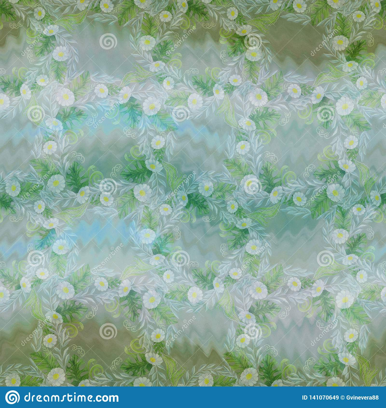 Een boeket van madeliefje bloeit - bloemen, bladeren op waterverfachtergrond Collage van bloemen, bladeren op een waterverfachter
