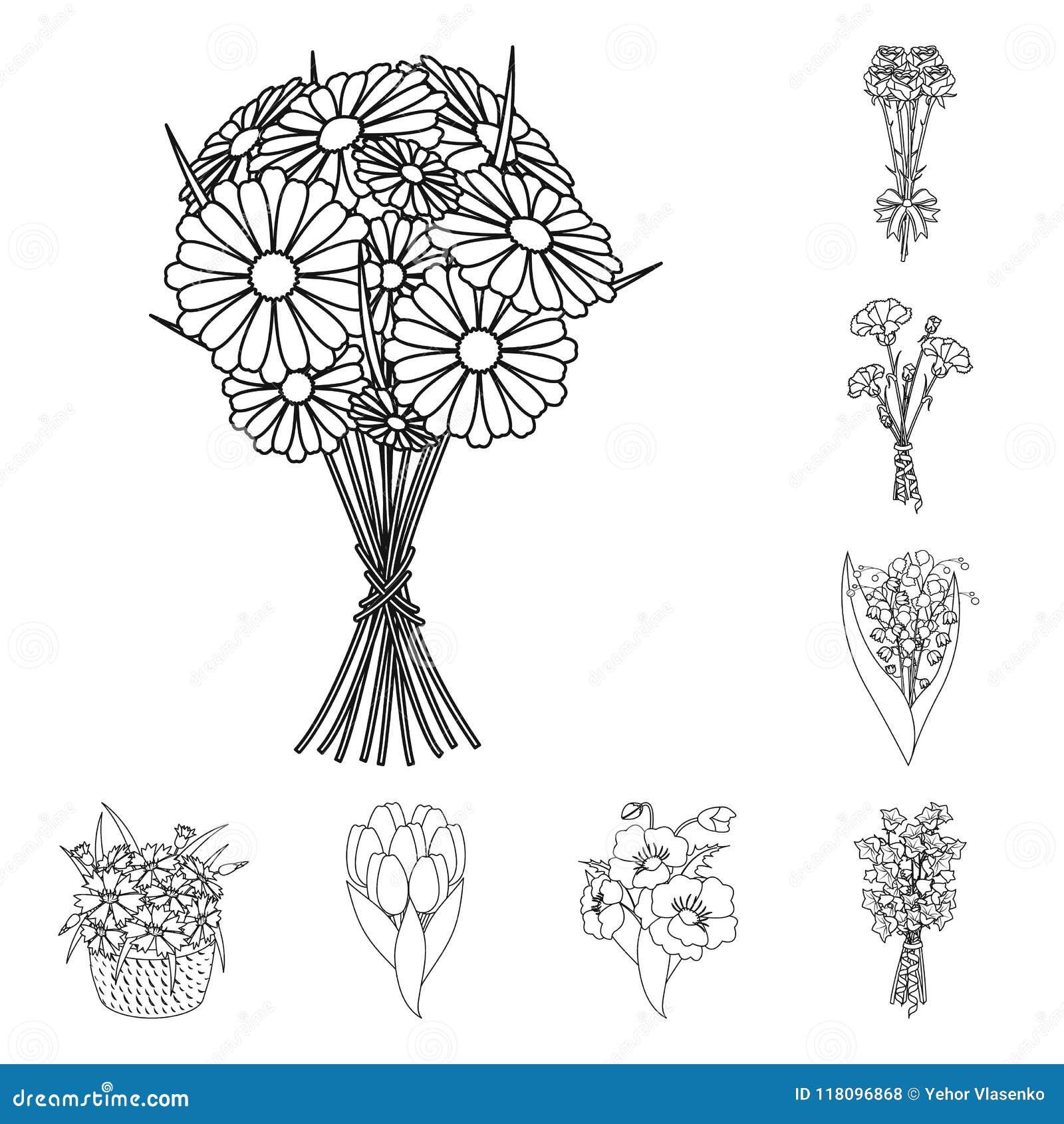 Een boeket van verse bloemen schetst pictogrammen in vastgestelde inzameling voor ontwerp De voorraadweb van het diverse boekette