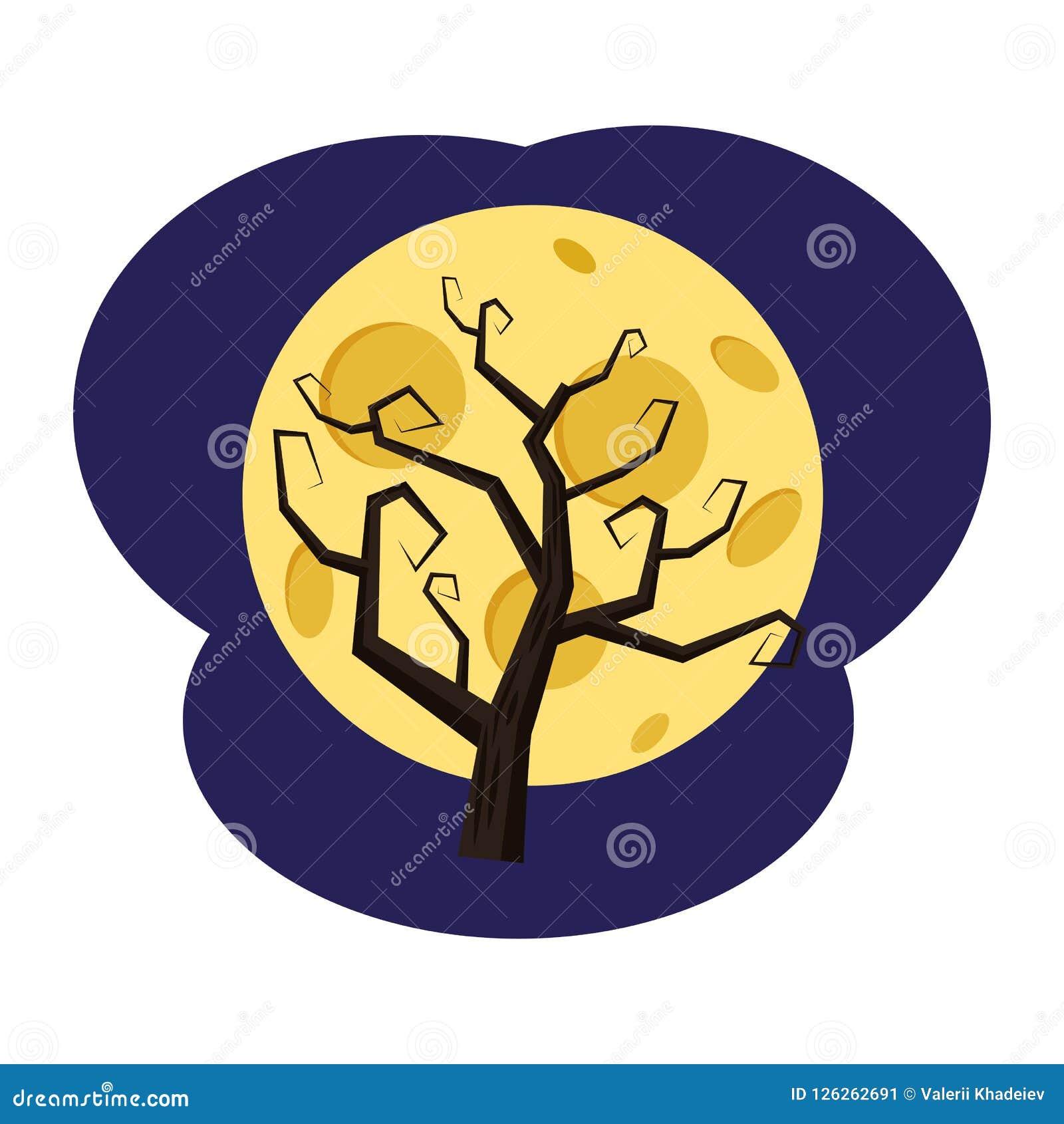 Een boom zonder bladeren tegen de achtergrond van de volle maan, vakantie Halloween, attributen, pictogram, vector, illustratie