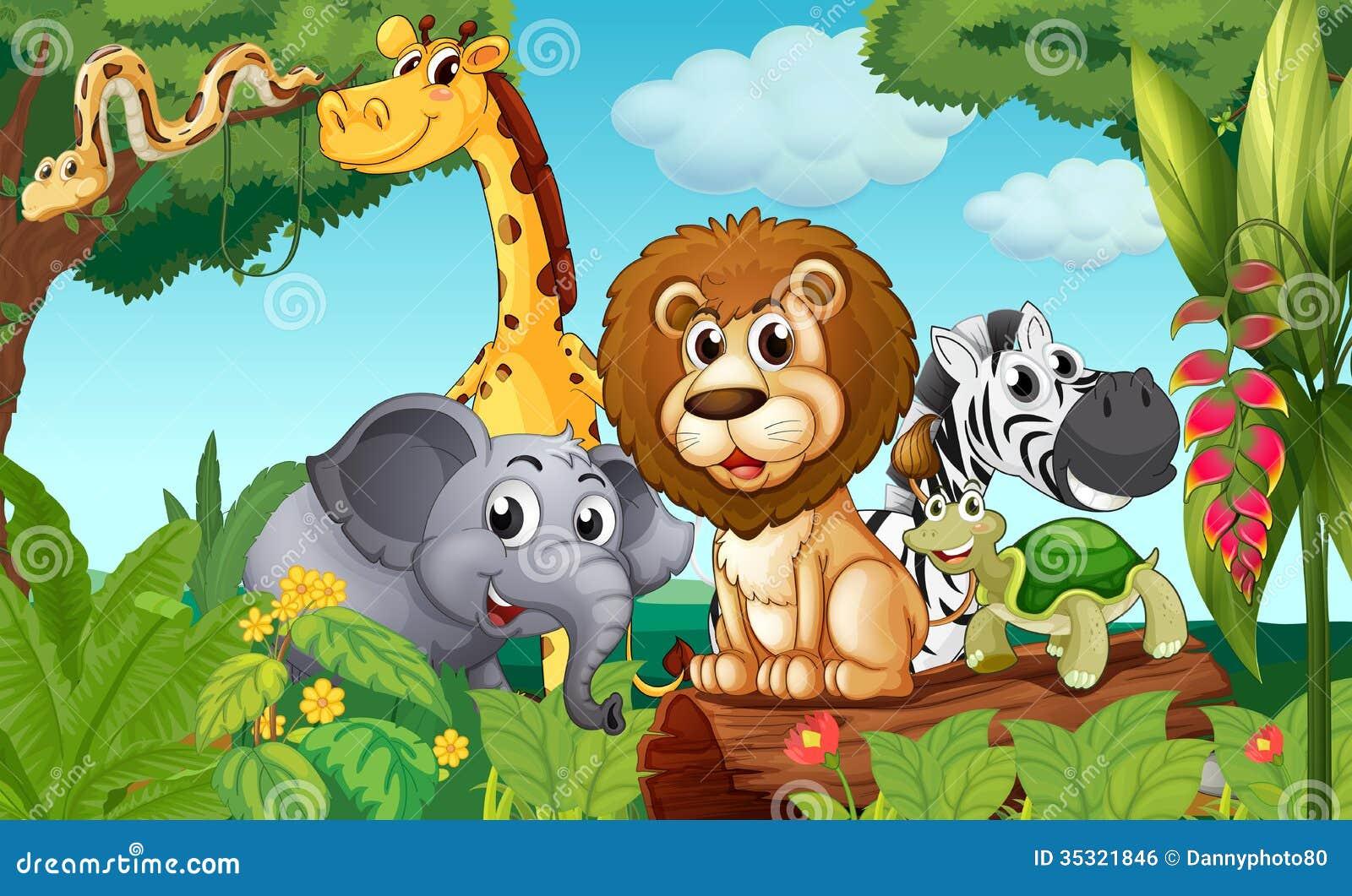 Een bos met een groep dieren