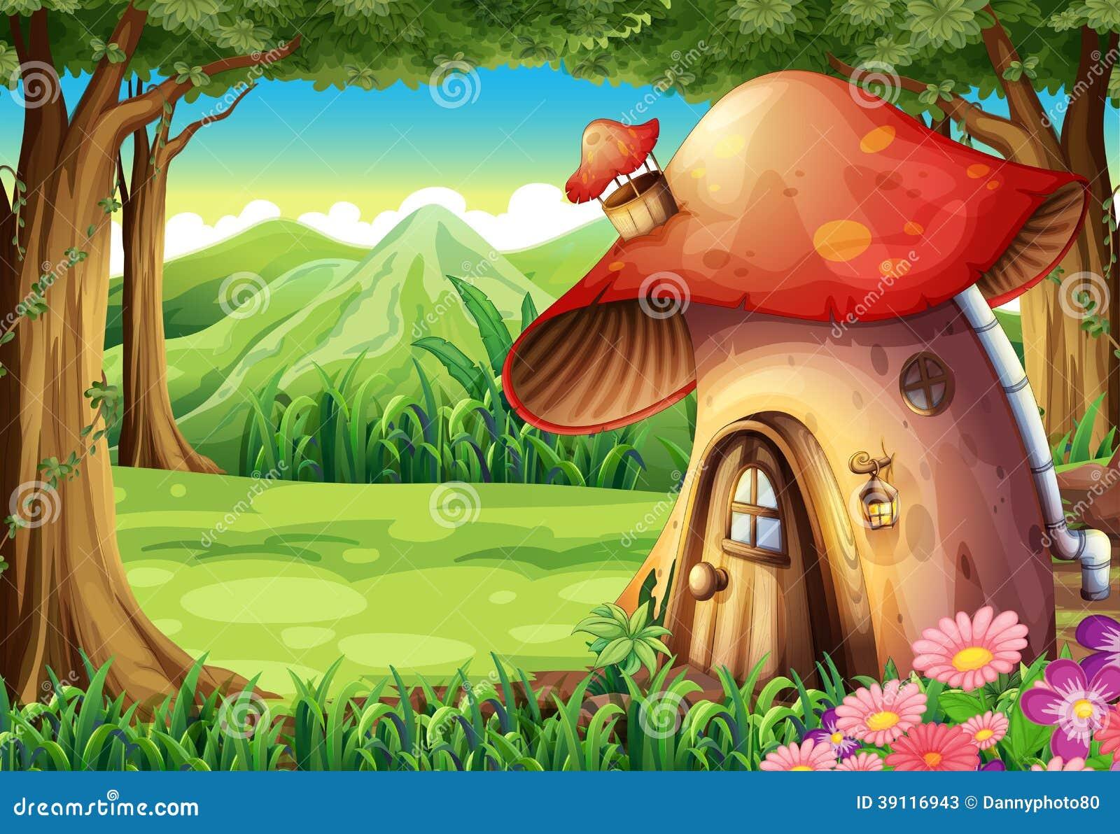 Een bos met een paddestoelhuis