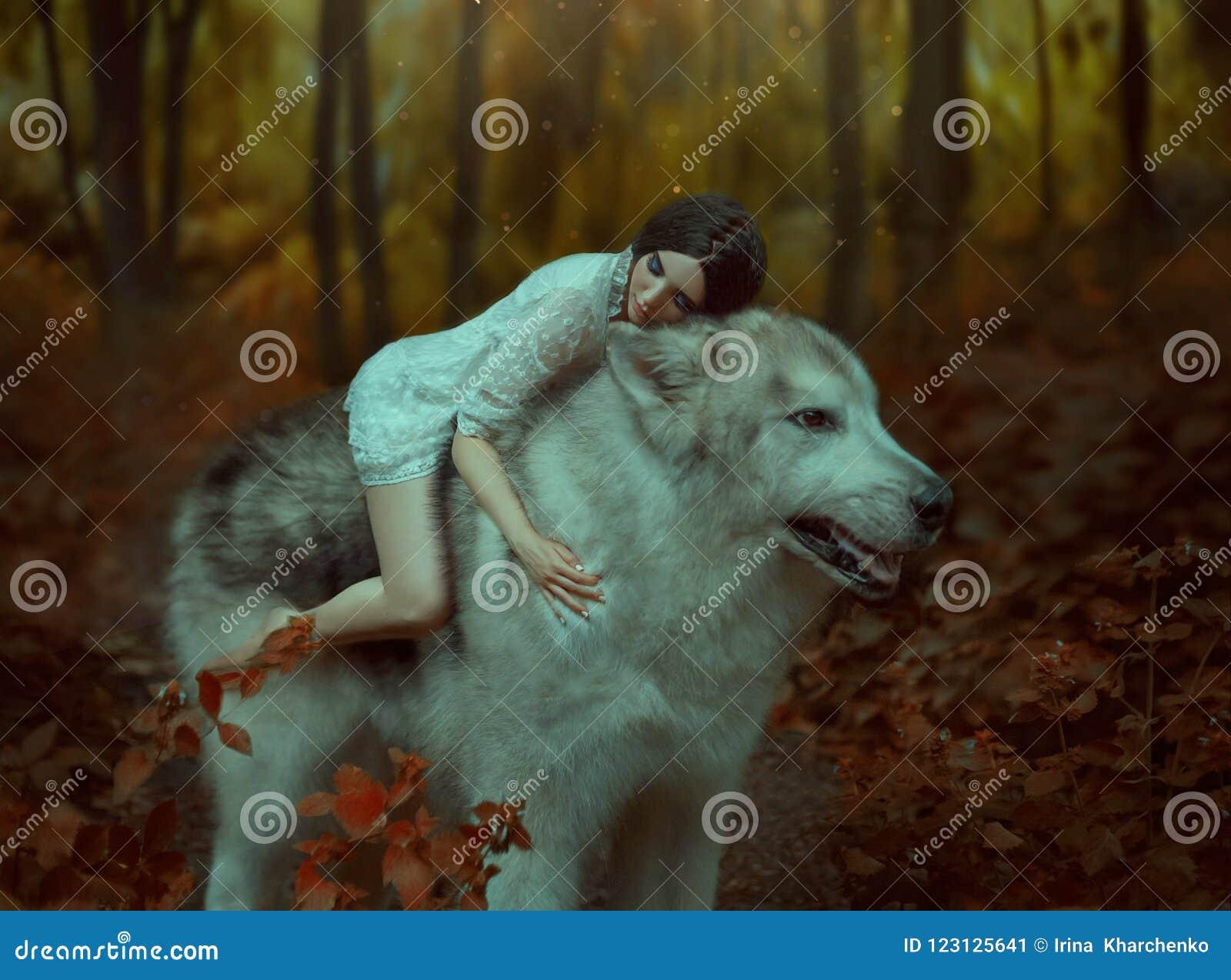 Een breekbaar meisje die een wolf, zoals Prinses Mononoke berijden De schoonheid van de slaap Malamute van Alaska is als een wild